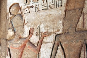 Ramses offering incense at Medinet Habu, Egypt
