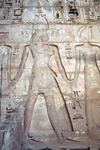 Medinet Habu, second-courtyard, contact wall, Egypt
