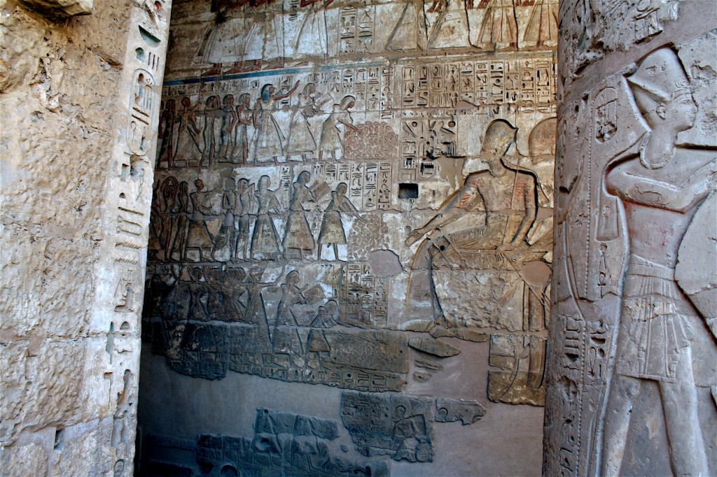Medinet-Habu-seated-receiving-spoil-Egypt